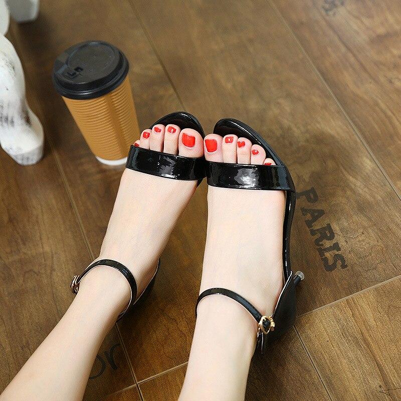 A561a Ankle Dünne Solide Ankle Frau Sandalen silver Süße Pu wrap Schuhe Fersen Mode Marke Black Schnalle Frauen Strap Freizeit wv7qxzaR