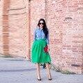Moda Saias Das Mulheres Zíper Cintura Uma Linha Comprimento Do Joelho de Cetim Verde Saia 2016 Custom Made