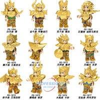 8 шт./лот Legoing Супер Герои Saint Seiya Athena ледник Shiryu tutankhamu, строительные блоки, игрушки для Детский подарок кирпичи PG8212