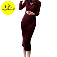BiSHE Winter Woolen Knitted Dress Women Slim Long Sleeve Robe Sexy Bodycon Black Office Robe Femme