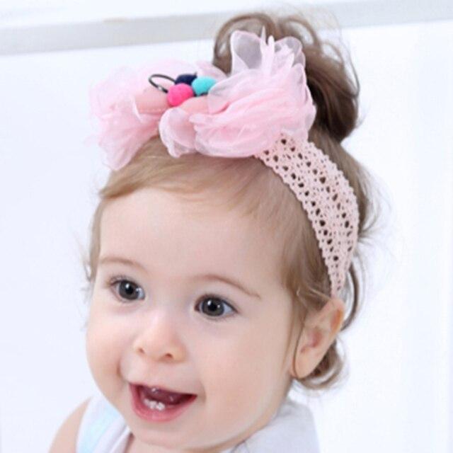 1pc Cute Baby Girls Hairband Ball Hair Bow Girls Soft Headbands Kawaii  Gauze Bowknot Hairband Kids ebb0eb94cfa