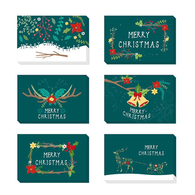 48pcs/lot Green Vintage Christmas Cards With Envelope Amazon Selling Christmas Greeting Cards Christmas Postcard Gift Cards image
