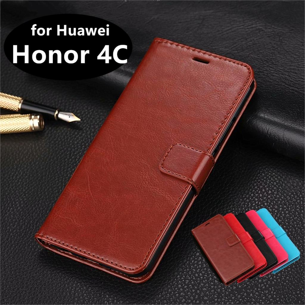 High Quality Card Slot Phone Holder PU Leather <font><b>Case</b></font> for Huawei <font><b>Honor</b></font> <font><b>4C</b></font> Flip Cover <font><b>Case</b></font> Phone Shell image