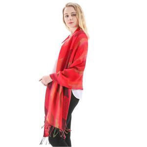 Шелковая шаль из пашмины, шарф в полоску с пейсли, шарф на осень, весну, зиму, мягкий длинный подарок, кашемир, теплый, высокое качество, красн...