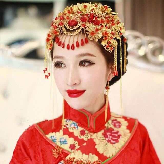 Vintage Chinesischen Frisuren Klassische Schmuck Traditionelle Braut