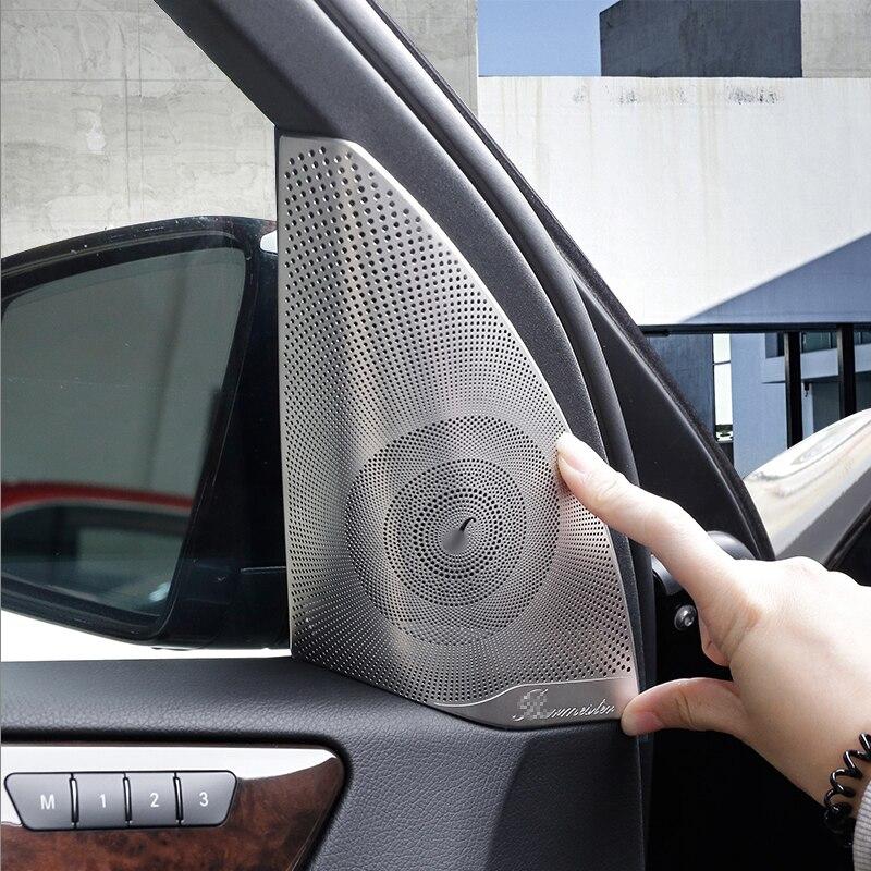 Matte Car Door Audio Speaker Cover Trim For Mercedes Benz ML GL Class  GLS GLE X204 X166 W166 2pcs car rear trunk security shield cargo cover for mercedes benz ml class w166 ml320 ml350 ml400 2013 2017 high qualit accessories