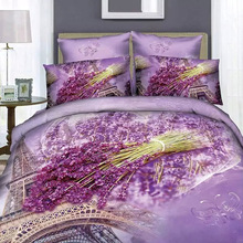 Lavender and Eiffel Tower Paris Print Bedding Set Queen King Size Duvet Cover Pillowcase Bed Linen Light Purple Cotton Textiles