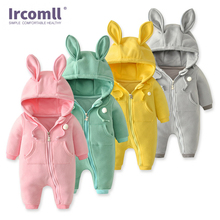 New 2018 Spring Baby Body Infant Rompers Soft Cotton  Hooded Girl Jump Outfits Clothing For Newborn
