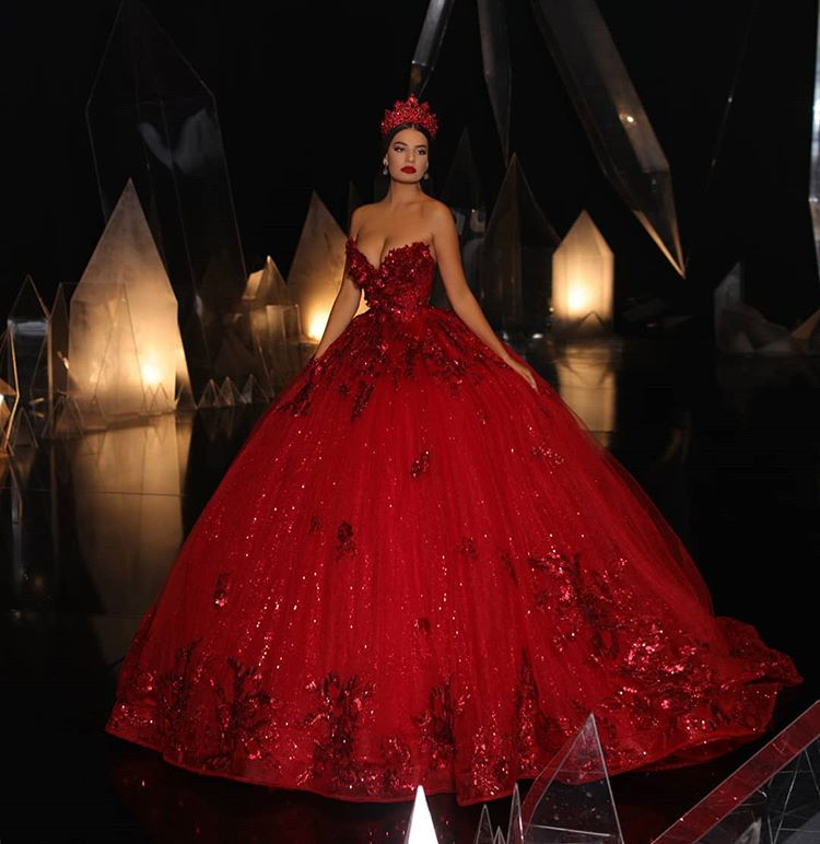 Anime Ball Gown White With Red Roses: 2019 Modern Design Red Ball Gown Gothic Red Wedding