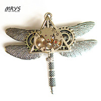 steampunk dragonfly watch parts gears pendant chain brooch pins badge for men women girls vintage jewelry christmas gift party