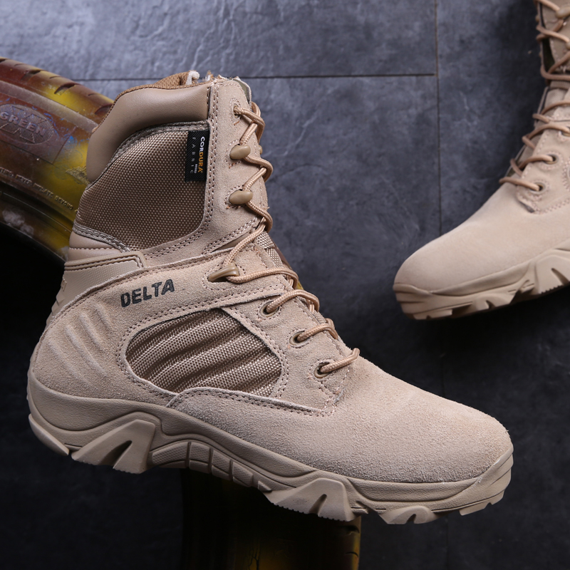 Spring and autumn leather 07 combat boots, men's special forces boots, land tactical boots, desert army fans as training boots, brand fishing waders security staff special forces shoes ski bodyguard women trekking tactical desert climb combat land boots