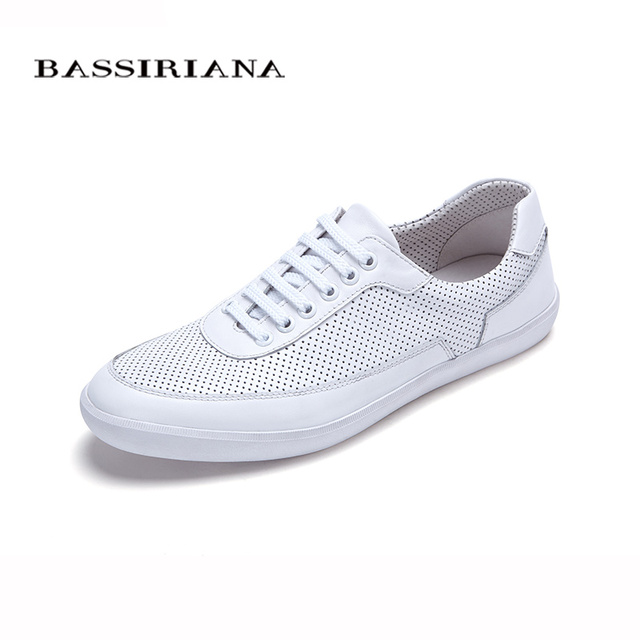 New 2017 shoes mens Genuine leather Lace-Up Round Toe Casual shoes for men Sheepskin Spring/Autumn Free shipping BASSIRIANA