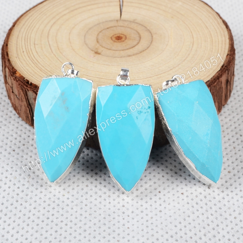 Shield Shape Faceted Blue Howlite Turquoise Silver Plated Necklace Pendant Beads Making Jewelry S0870