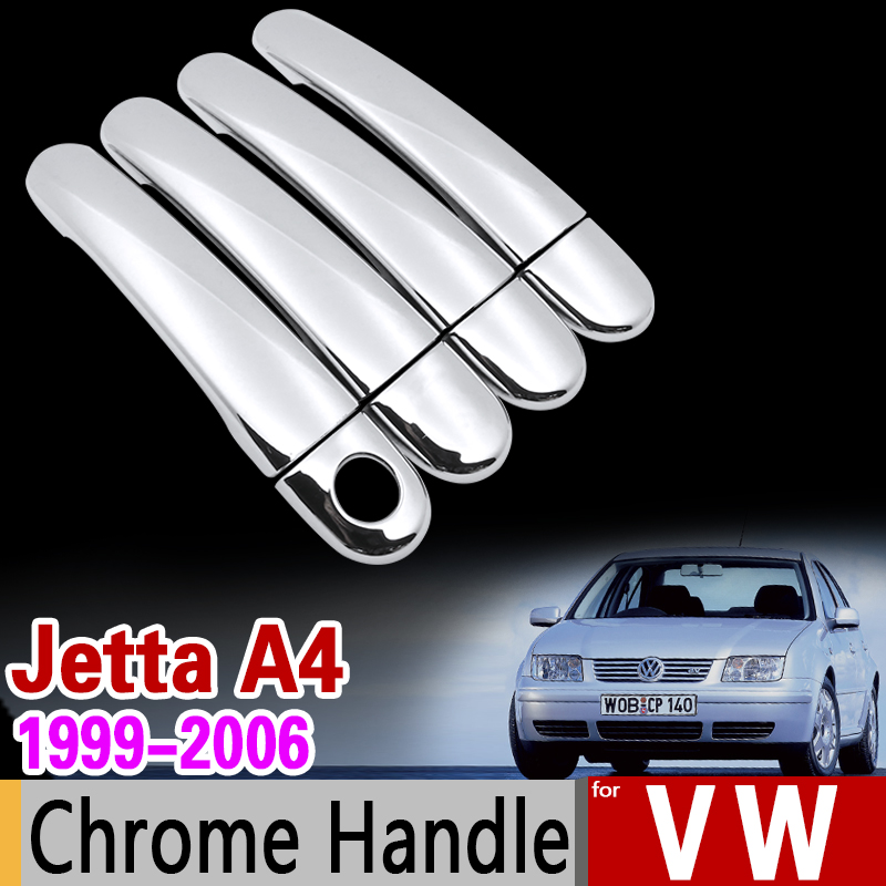 for VW Jetta A4 Bora 1999-2006 Chrome Handle Cover Trim Set Volkswagen MK4 2000 2004 2005 Car Accessories Stickers Car Styling beler car grey interior dome reading light lamp itd 947 105 fit for vw golf jetta mk4 bora 1999 2004 passat b5 1998 2005