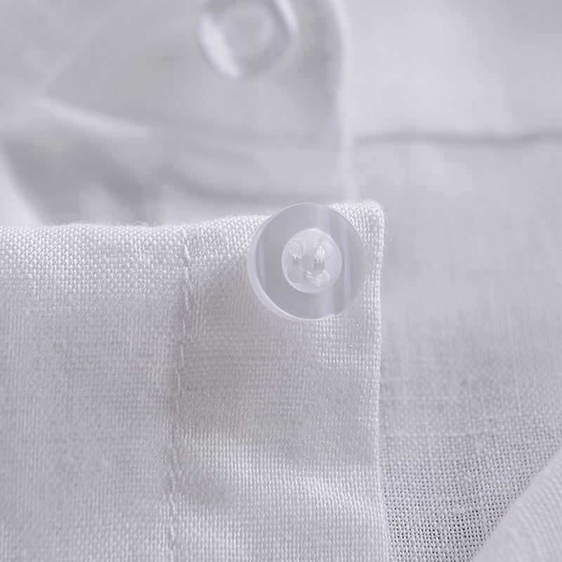 İtalya marka pamuk gömlek erkekler slim fit kısa kollu turn-down - Erkek Giyim - Fotoğraf 4