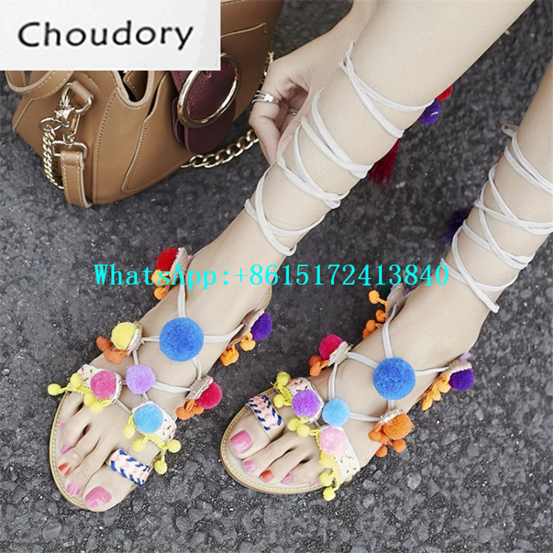 Choudory Mixed Colors Flat With Gladiator Sandals Peep Toe Thong Sandals Fringe Feather Fashion Pompom Embellished Shoes Woman