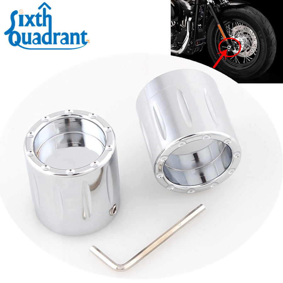 Thick Cut Chrome Front Axle Cap Cover Nut Fit For Harley FXDB FXDF FLSTF FLHTK