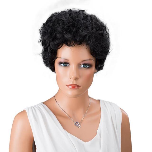 Wanita Hitam Depan Keriting Gaya Rambut Pendek Sintetis Wig Rambut - Gaya rambut pendek depan