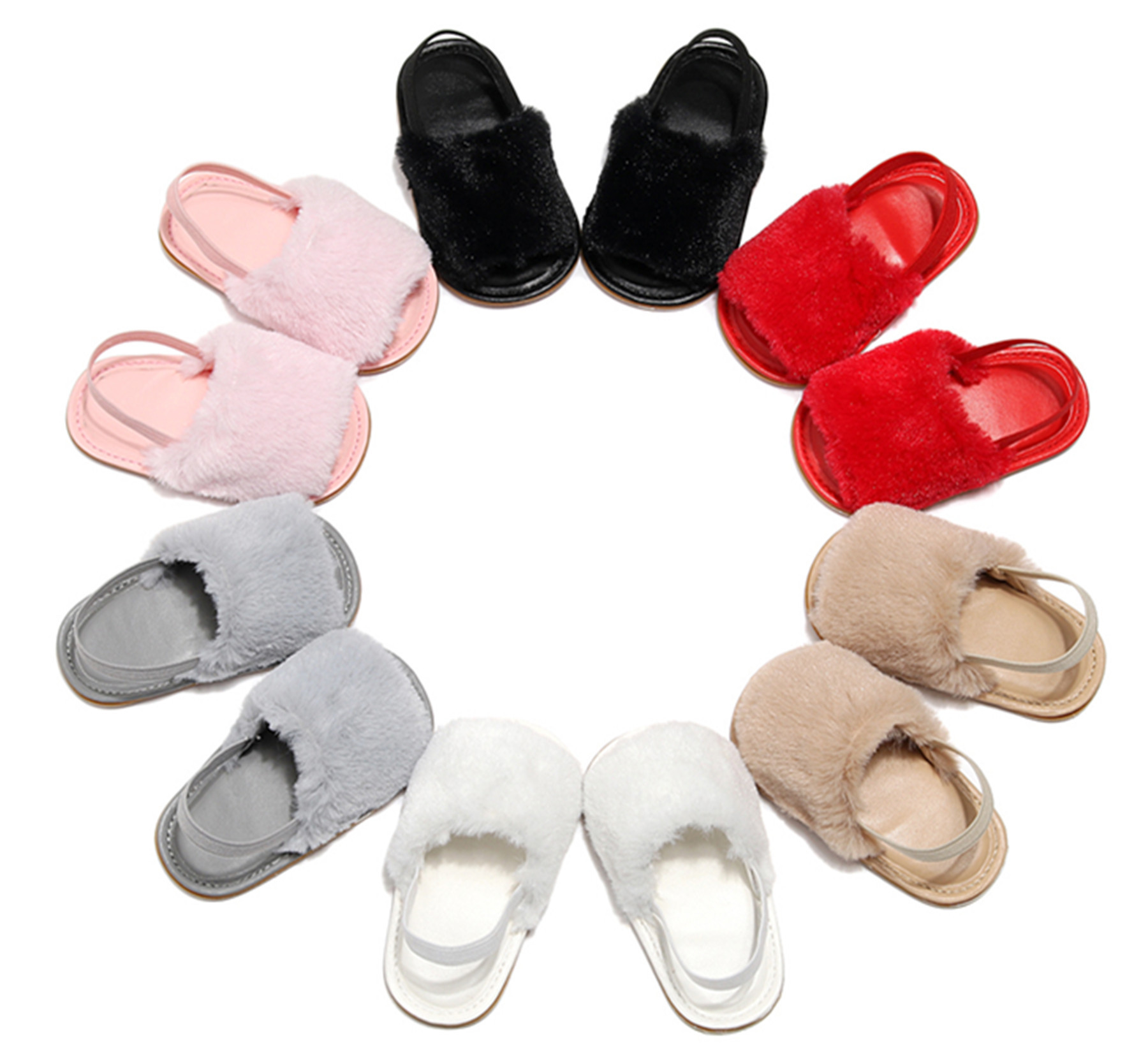 Summer New Baby Sandals Fur Slippers Baby Girls Shoes Infant Toddler First Walking Shoe Baby Moccasins Hot Sale