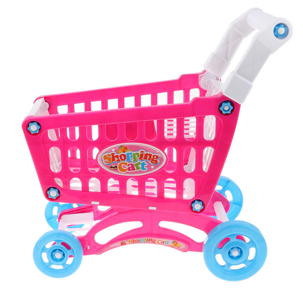 Anak-anak Keranjang Belanja Mainan dengan 20 Bermain Makanan Sayuran Buah Supermarket Pura-pura Permainan Trolley Anak Anak Hadiah Natal