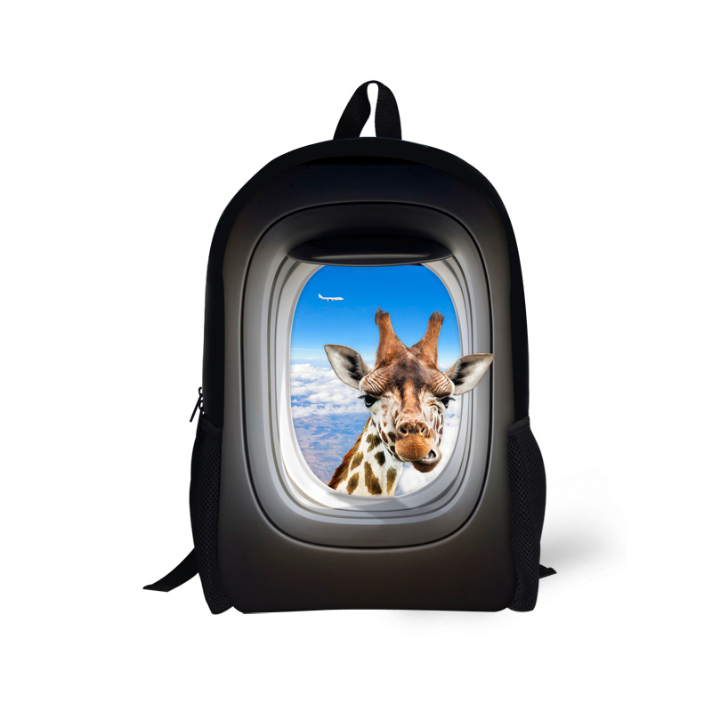 Cute Animal Zoo Children School Bags for Girls Giraffe Crazy Horse Printing Kids Schoolbag Children Book Bag Mochila Escolar