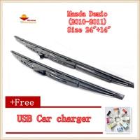 2pcs/lot Car Windscreen Wipers Blades U-type Universal For Mazda Demio (2010-2011),Size 24