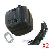 2 Pairs Exhaust Muffler & Gasket Set W/ Bracket Fit Husqvarna 371 372XP 385 390 390XP 362 Chainsaw