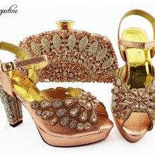 3d1f1005d4d15d Haute classe pêche haute talon sandale chaussures et ensemble de sacs de  soirée avec shinning pierres pour la mode lady QSL008 h.