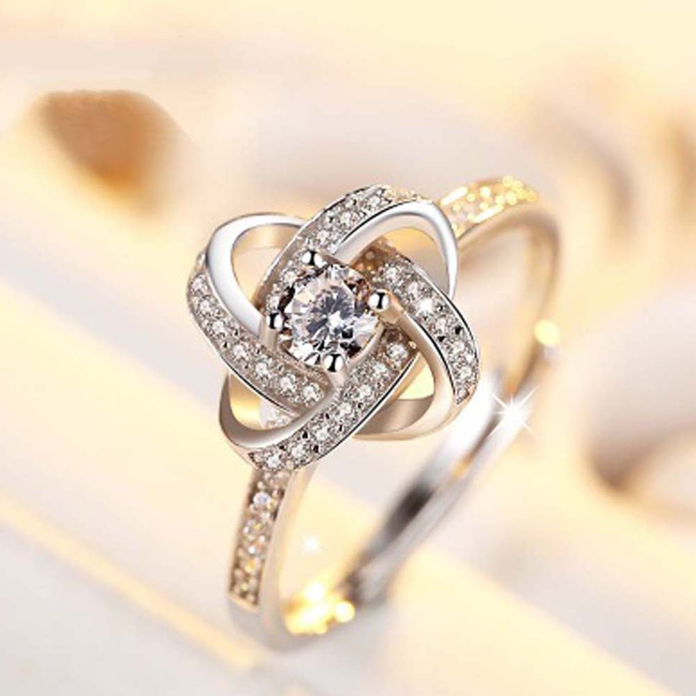 New Collection Color Silver Four Leaf Clover Lucky Ring Clear CZ open Adjustable Ring Fine Jewelry Anillos