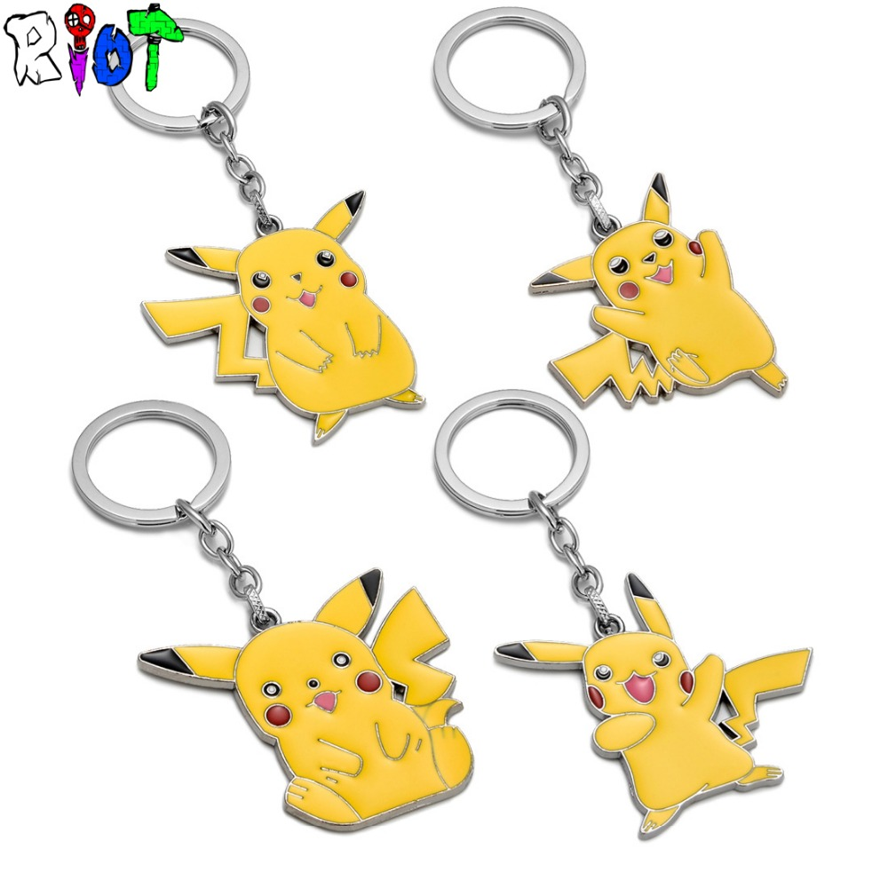 4 types Pokemon Go Yellow Pikachu KeyChain Cartoon keyring Pocket Monsters cute accessories for car alloy key chains Key holder