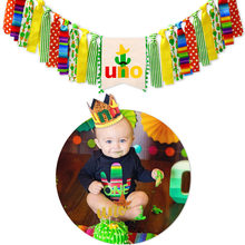 1 Set UNO Banner Children's 1st Baby One Day Birthday Party Garlands Kids Gift Baby Shower Room Decoration(China)