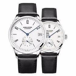 Agelocer Роскошные парные часы для влюбленных из натуральной кожи ремешок кварцевые повседневное часы Бесплатная доставка 1101A1-1202A1