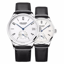 Agelocer Luxury Couple Watches for Lovers Genuine Leather Strap Quartz Casual Watches Free Shipping 1101A1-1202A1