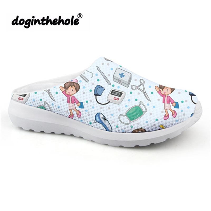 doginthehole Sport Sandals Women Cartoon Cute Nurse Pattern Beach Shoes 2019 Outdoor Sport Slipper for Girls Mesh Flats Sneakers