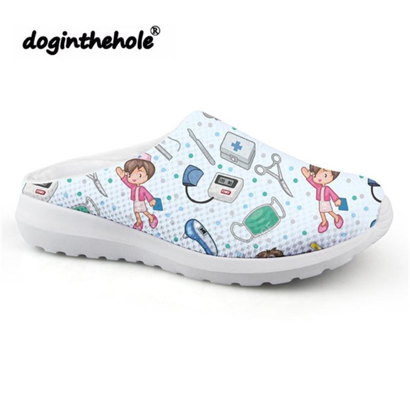 Doginthehole Sport Sandals Women Cartoon Cute Nurse Pattern Beach Shoes 2019 Outdoor Sport Slipper For Girls Mesh Flats Sneakers