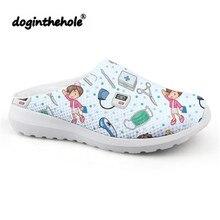 doginthehole Sport Sandals Women Cartoon Cute Nurse Pattern Beach Shoes 2019 Outdoor Slipper for Girls Mesh Flats Sneakers