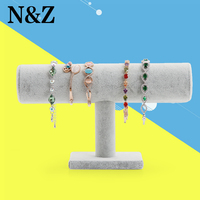 2014 Wholesale New Velvet Bracelet Necklace Watch T Bar Jewelry Display Stand Rack Gray Free Shipping