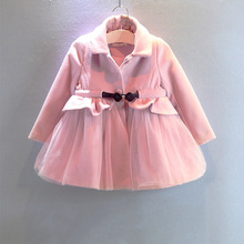 glittery sweet New Arrival Girls Clothes Spring Pink Princess Kids Jacket Lace Bowknot Children Outerwear Coats