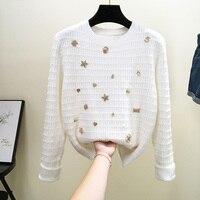 Зимний новый стиль модный круглый воротник свитер женский дрель в маленький аромат пуловер Шерсть вязаная рубашка женская
