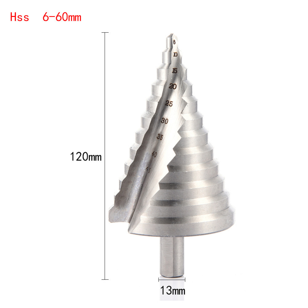 6-60mm Hss Step Cone Drill Bit Hole Cutter Set 12 Steps Metric Step Drill Wood Plastic Metal Drilling Shank Dia 13mm 3pcs hss 4241 step cone drill bit set 1 4 hex shank titanium coated wood hole cutter 6 9 13 steps for power tools