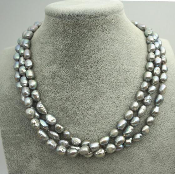 Bijoux en perles naturelles riz gris Baroque 3 rangées véritable collier de perles d'eau douce cadeau de fête des mères bijoux de mode, amour