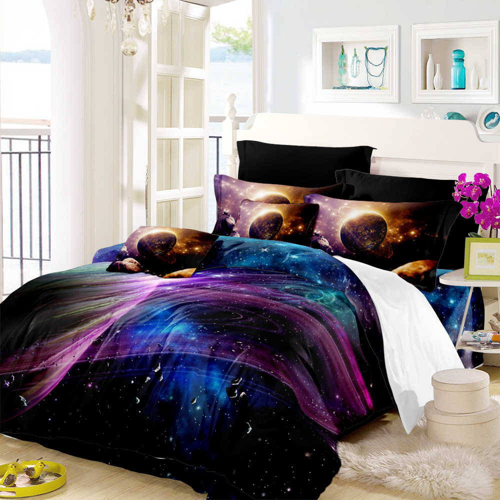 3D Galaxy Outer Space Bedding Set Colorful Planet Duvet Cover Set Twin Full King Queen Quilt Cover Pillowcase D30