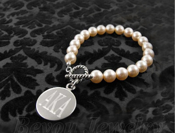 AKA letters Sorority pearl bracelet AKA Legacy charm bracelet
