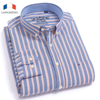 LANGMENG 2018 Casual Shirt Long Sleeve 60 Cotton Oxford Striped Shirt Men Business Mens Dress Shirts