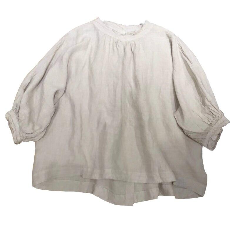 Manches Automne Style Japonais De Femmes Filles Khaki Ultra blanc bleu black allumette Grey souris Bref Lâche Grey Mori Tout Chemises Printemps Lin Chauve xfnzXFqIz