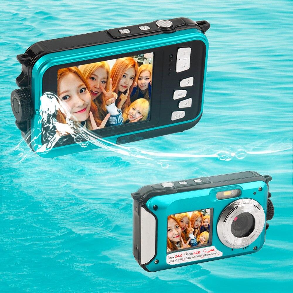 ФОТО 2.7inch TFT Double Dual Screen Digital Camera Waterproof 24MP MAX 1080P 16x Digital Zoom Camcorder CMOS for Windows XP Vista