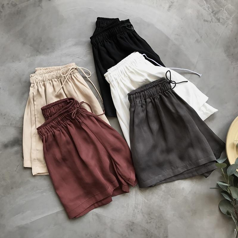 Summer 2019 Women White Highwaist Satin Shorts High Waist Fitness Black Vintage Hotpant Korean Elastic Ladies Short Pant Bottom