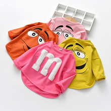 2020 Long Sleeved Baby Boys T-shirt Cotton Spring Autumn Cartoon Letter M Tops Kids Tees Candy Colors Toddler Girls T Shirt 1-6T