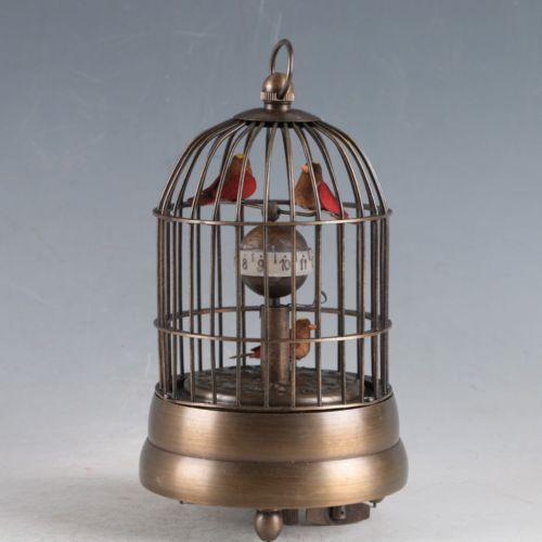 Artisanat statue européenne exquise en laiton classique mécanique oiseaux horloge