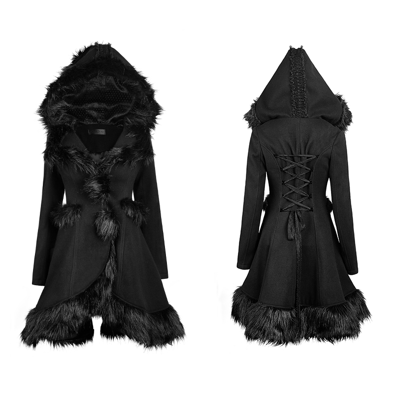 Gothique Lolita Style À Capuchon Manteaux De Fourrure pour les Femmes Steampunk Automne Hiver À La Mode Noir À Manches Longues Chaud Long Vestes Survêtement